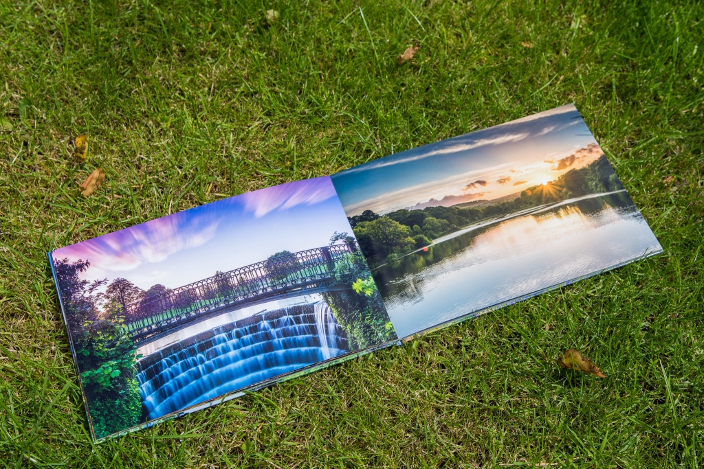 Pages with photos of a waterfall at Ripley Castle and a sunset at Lindley Wood Reservoir