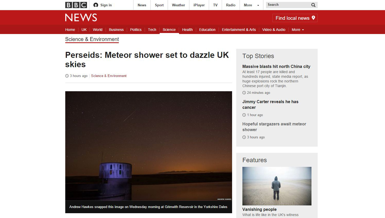 My photo featured on BBC News website